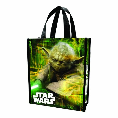 Reusable Shopper Tote - Vandor LLC 99173 Star Wars Yoda Small Recycled Shopper Tote, Green, Black, and White. - SS-VG-99173