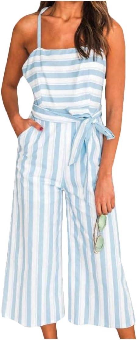 DressU Women's Spaghetti Strap Mid-Waist Striped Straight Trousers