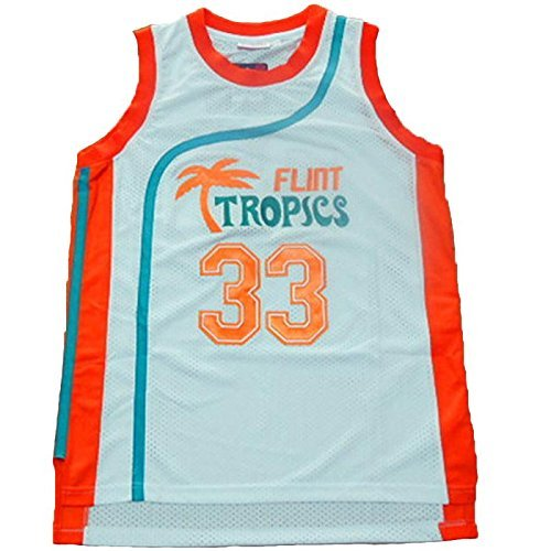 NO.33 Jackie Moon Flint tropical semi-professional basketball movie throwback jerseys stitched white / green white M