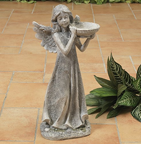 18-Inch-Rustic-Standing-Angel-Bird-Feeder-Garden-Statue-Outdoor-Decoration