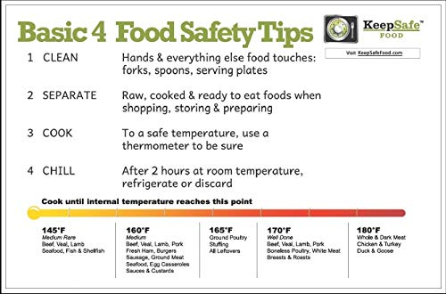 (KeepSafe Food Basic 4 Flexible Chopping Mat printed with Food Safety Tips plus a Safe Cooking Temperature Guide )