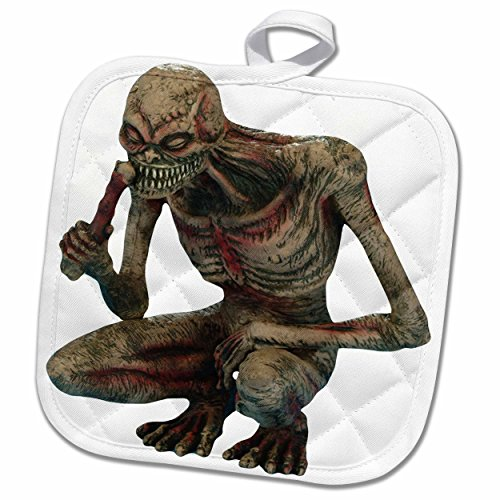 3dRose Blonde Designs Happy and Haunted Halloween - Halloween Gory Squatting Zombie - 8x8 Potholder (phl_131220_1) (Gory Halloween Dishes)