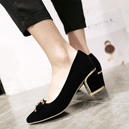 Latasa Womens Cute Bow Faux Nubuck Pointed-toe Chunky Mid Heel Dress Pumps Shoes Black e0chIxlVN