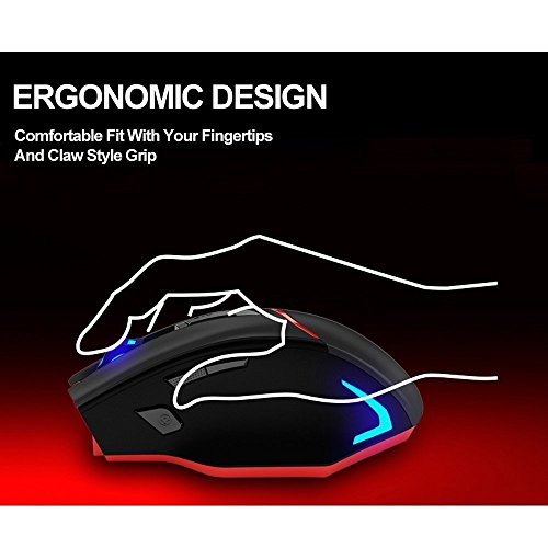 Zelotes Rechargeable Wireless Mouse with USB Receiver,600/1000/1600/2000/2400/3200DPI,7 Buttons 2.4GHz Portable Mobile Computer Wired Gaming Mice for Gamer,PC,Mac,Laptop,Macbook,Black by Zelotes (Image #4)