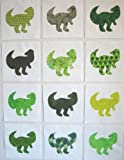 12 Applique Green Dinosaur Quilt Blocks 6.5 Inch Squares