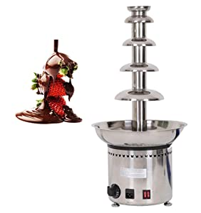 NEWTRY 5-Tier Stainless Steel Chocolate Fondue Fountain Machine 8.8lbs Capacity 86~230℉Adjustable for Home Party Restaurant (110V)
