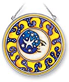 Amia Hand Painted Glass Moon and Stars Suncatcher, 4-1/2-Inch Circle