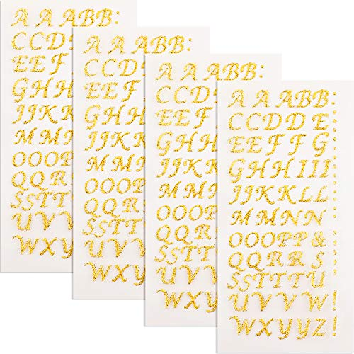 4 Sheets Graduation Cap Decorations Peel and Stick Glitter Alphabet Sticker Letter Stickers for Graduation Cap Supplies (Gold) ()