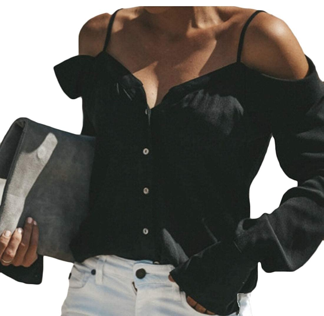 d8686ef20016f chenshijiu Womens Long Sleeve Top Spaghetti Strap Off The Shoulder Button  Down Shirt Black XL  Amazon.in  Clothing   Accessories