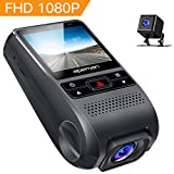 APEMAN Dash Cam Front and Rear 1080P Full HD Dual Car Camera, Lens 170° Wide Angle Lens Work With GPS, G-sensor, WDR, Night Vision, Motion Detection, Parking Monitoring