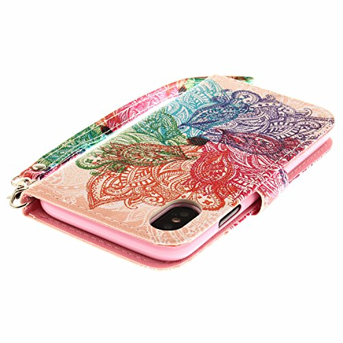 Coque iPhone X Fleurs colorées Portefeuille Fermoir Magnétique Supporter Flip Téléphone Protection Housse Case Étui Pour Apple iPhone X / iPhone 10 (2017) 5.8 Pouce + Deux cadeau