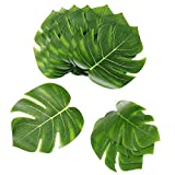 Joeyer 45 Pcs Artificial Palm Leaves Tropical Party Decorations Supplies Tropical Monstera Plant Leaves for Hawaiian Luau Safari Party Jungle Beach Theme BBQ Birthday Party (3 Sizes)