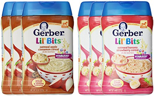 Gerber Lil Bits Oatmeal Cereal, Variety, 8 Ounce (Pack of 6)
