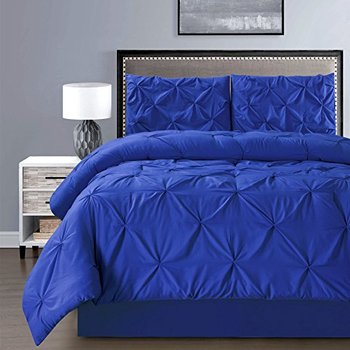 Royal Blue Full Bedroom: 3- Piece Solid ROYAL BLUE Pinch Pleat DUVET COVER Set FULL