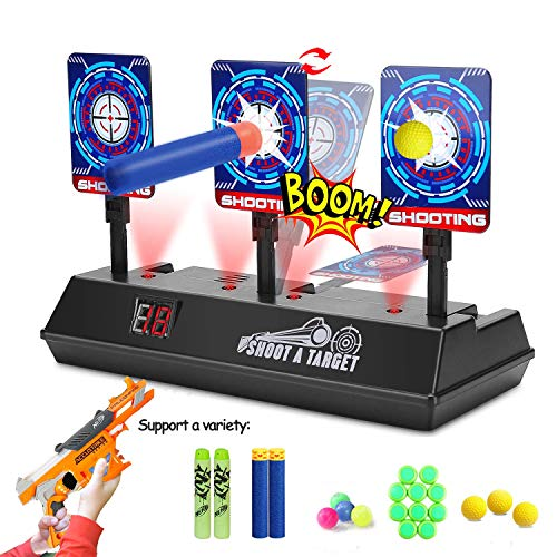 Electric Scoring Target for Nerf Guns, Auto-Reset Intelligent Light Sound Effect Digital Shooting Target for Nerf N-Strike Elite/Mega/Rival Series for Kids, Boys (Only Target)