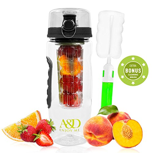 Premium Fruit Infuser Water Drink Bottle - Full-Length Infusing Basket & Free Insulated Sleeve - BPA / Latex Free Extra-Thick Plastic - Leak Proof Flip Lid Cover - Large 32oz Infusible Sports Pitcher