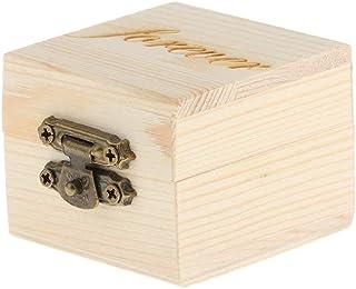 Homyl Wooden Ring Holder Decorative Box 2×1.5 inch Wedding Ring Box Bearer