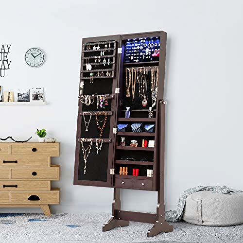 (Homevibes Jewelry Cabinet Jewelry Armoire 6 LED Lights Mirrored Makeup Lockable Free Standing Full Length Floor Mirror Tilting Storage Jewelry Organizer 2 Drawers, Espresso)