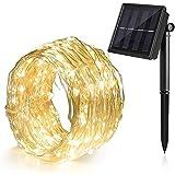 Ankway 8 Modi solar lichterkette led lichterketten mit Kupferdraht 100 LEDs wasserdicht lichterkette außen 39ft 11 Meters - Warmweiß