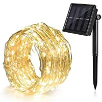 Ankway Guirlande solaire 8modes, comprenant 100LED avec fil de cuivre durable et capteur de lumière IP65étanche, blanc chaud
