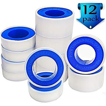 Teflon Tape Plumbers Tape - 12 Pack Thread Tape PTFE Thread Seal Tape Pipe  Sealant Tape for Plumbers Plumbing