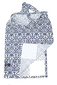 Nursing Cover by Crown and Cradle— Soft Cotton Pockets for Burp Rags and Storage while Breast Feeding -- Comfortable and Breathable Breastfeeding Privacy Apron - Money Back Guarantee (Blue/White)