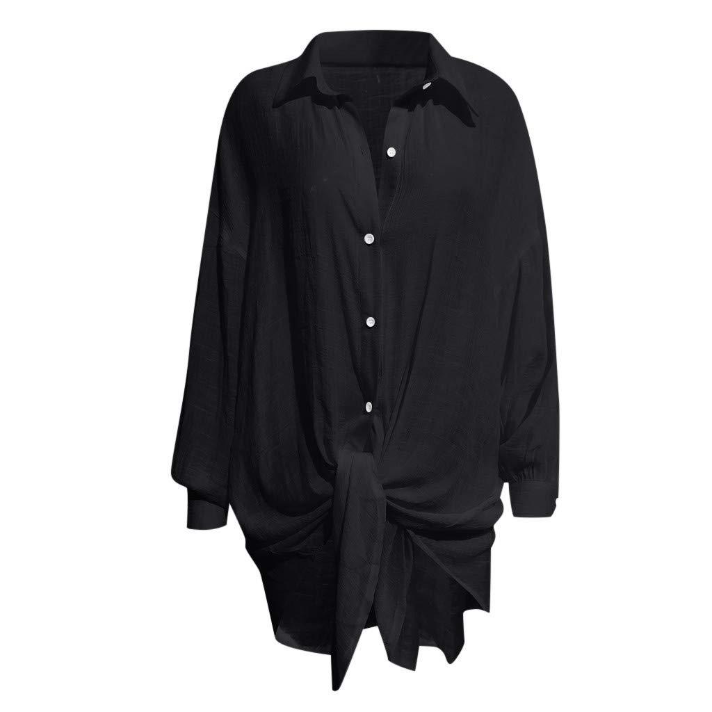 Womens Casual Lapel Neck T-Shirt Ladies Short Sleeve Buckle Tops Camis Tunics Blouse Black