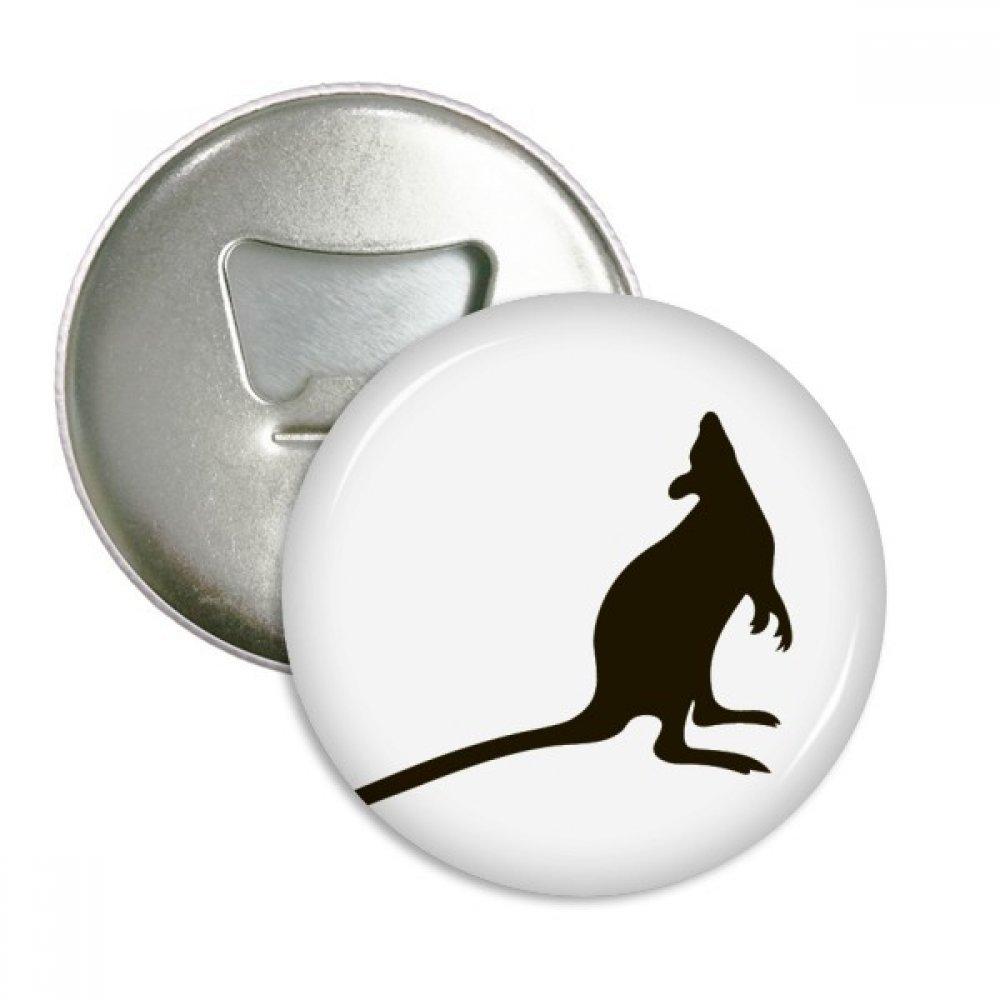 Black Kangaroo Animal Portrayal Round Bottle Opener Refrigerator Magnet Badge Button 3pcs Gift