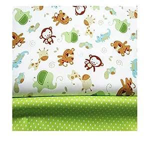 2 piezas de tela de algodón de 160 x 100 cm cada una, de Fuya, con diseño de monos y lunares, ideal para manualidades con ropa de bebé, vestidos, ...