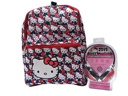 New Hello Kitty Allover Print School Backpack with Matching Hk Headphones