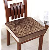 Thicken Soft Plush Non-slip Chair Cushion Dining Seat Chair Pad (45x45cm/17.7x17.7inch, coffee)