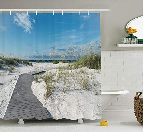 (Ambesonne Seaside Decor Collection, Rustic Beach Pathway Heads to the Water in Florida Santa Rosa Island Summer Travel Photo, Polyester Fabric Bathroom Shower Curtain Set with Hooks, Blue Light Grey)