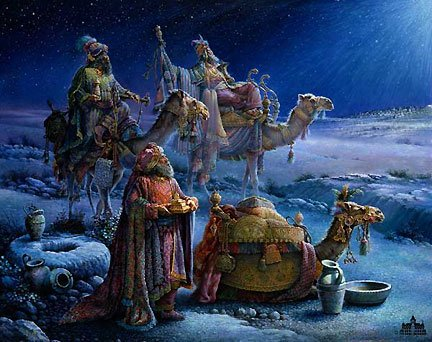 [Tom duBois Wise Men Came Bearing Gifts Artist originally signed paper print Christian Artwork] (Wise Signed)