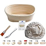 Banneton Proofing Basket 8'' Oval Banneton Brotform for Bread and Dough [FREE BRUSH] Proofing Rising Rattan Bowl + FREE LINER + FREE BREAD FORK (500g dough)