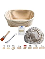 Banneton Proofing Basket 8 Oval Banneton Brotform for Bread and Dough [FREE BRUSH] Proofing Rising Rattan Bowl + FREE LINER + FREE BREAD FORK (500g dough)