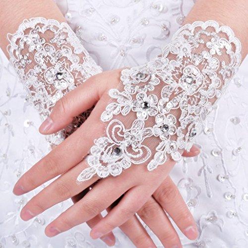 Albrose Short Lace Fingerless Rhinestone Bridal Gloves Ivory Rhinestone Bridal Gloves
