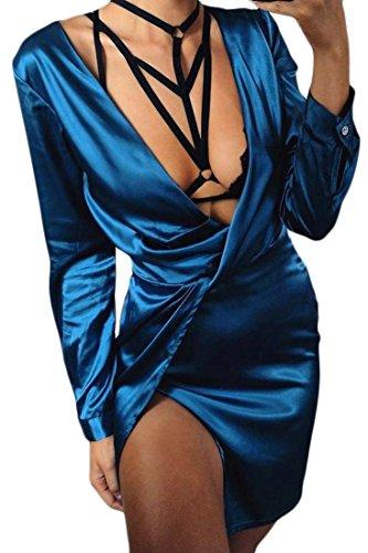 Cromoncent Femmes Sexy Satin Encolure En V Soie À Manches Longues Mini Robe Moulante Bleu