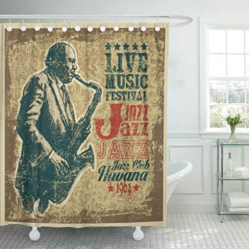 (Semtomn Shower Curtain Waterproof Polyester Fabric 72 x 78 inches Retro Design Live Music Festival Jazz with Saxophonist Grunge Background with Set with Hooks Decorative Bathroom)