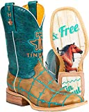 Tin Haul Shoes Women's Barb'D Wire Western Boot, Tan & Turquoise, 9.5 M US