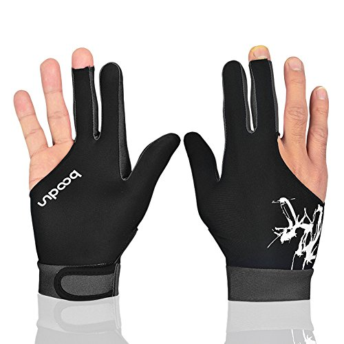 Anser M050912 Man Woman Elastic Lycra 3 Fingers Show Gloves for Billiard Shooters Carom Pool Snooker Cue Sport - Wear on the Right or Left Hand 1PCS (Gray, L)