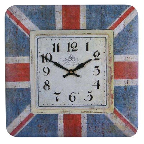 Roger Lascelles Square Tin Wall Clock, Union Jack Design, 12.2-Inch