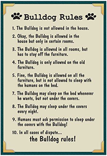 Bulldog House Rules Poster with Hanger