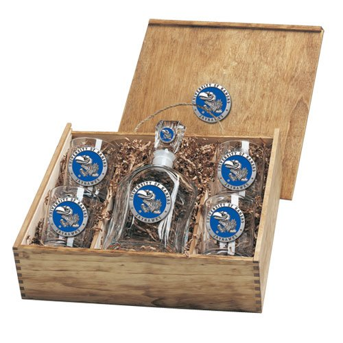 Kansas Jayhawks Capital Decanter Box Set by Heritage Pewter