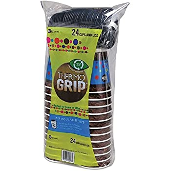 Thermo Grip Insulated Coffee Cups with Lids, Paper, 12oz, Hot, 48 Count Thermal Disposable Cups, to go Coffee Cups, Disposable Travel Mug & Cover Hot/Cold Coffee, Tea & Chocolate, Hot Coco (48)