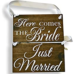 Cleo Bridal Reversible Here Comes The Bride Sign Double Sided Just Married Rustic Wedding Wood Sign Wooden Signs (Dark Walnut - White Ribbon)