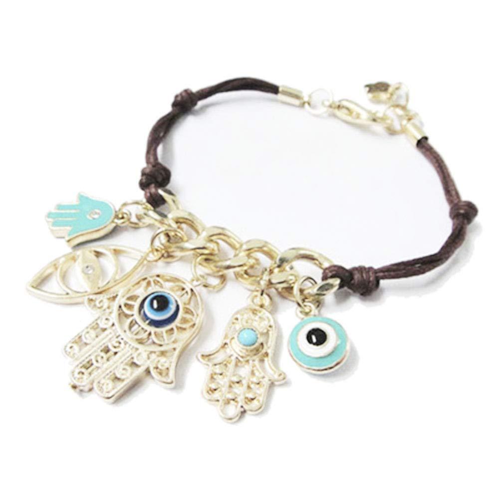 Fellee Women Bracelet Eye Fatimas Palm Braided Bracelet