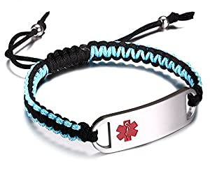 JF.JEWELRY Stainless Steel Medical Alert ID Bracelets for Men Women with Two-Tone Nylon Rope Braided Band