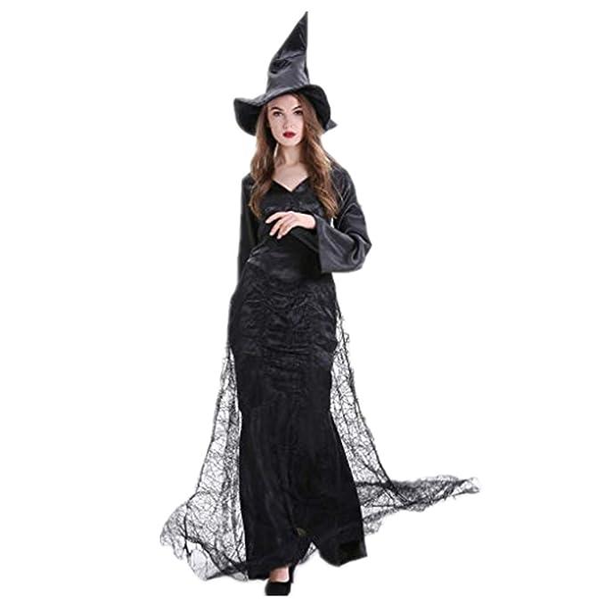 Reooly Señoras Halloween, Cosplay Traje de Bruja Malla Color ...