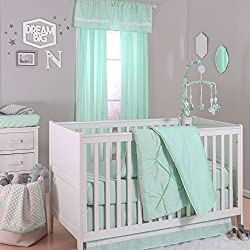 Mint Green Pintuck and Confetti Dot 4 Piece Crib Bedding Set for girls by The Peanut Shell