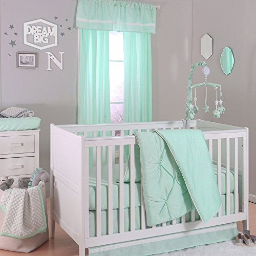 Mint Green Pintuck and Confetti Dot 3 Piece Crib Bedding Set